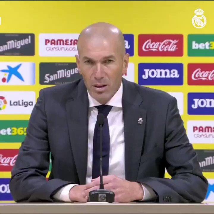 """🎙️ #Zidane: """"Il faut féliciter mes joueurs, qui ont été bons, nous avons contrôlé le match et sur une action, ils ont égalisé. Cela peut arriver dans le football. Aujourd'hui, nous avons eu les occasions pour ramener les trois points, c'est dommage""""  #HalaMadrid"""