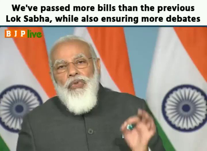 In the 16th Lok Sabha, 60% passed bills have been debated on for 2-3 hours. We've passed more bills from the last Lok Sabha, while increasing the time of debates as well.   This shows that while focusing on the product, we've also improved the process  - PM @narendramodi