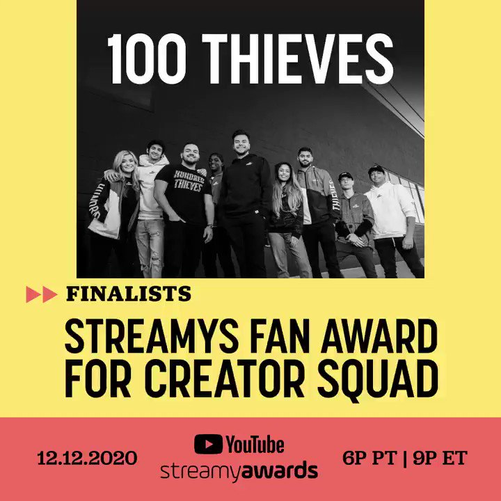 Introducing the #streamys Fan Award for Creator Squad! Here are the finalists: ✨ @100Thieves ✨ @official2HYPE ✨ @FaZeClan ✨ Hype House ✨ Sway LA ✨ Vlog Squad