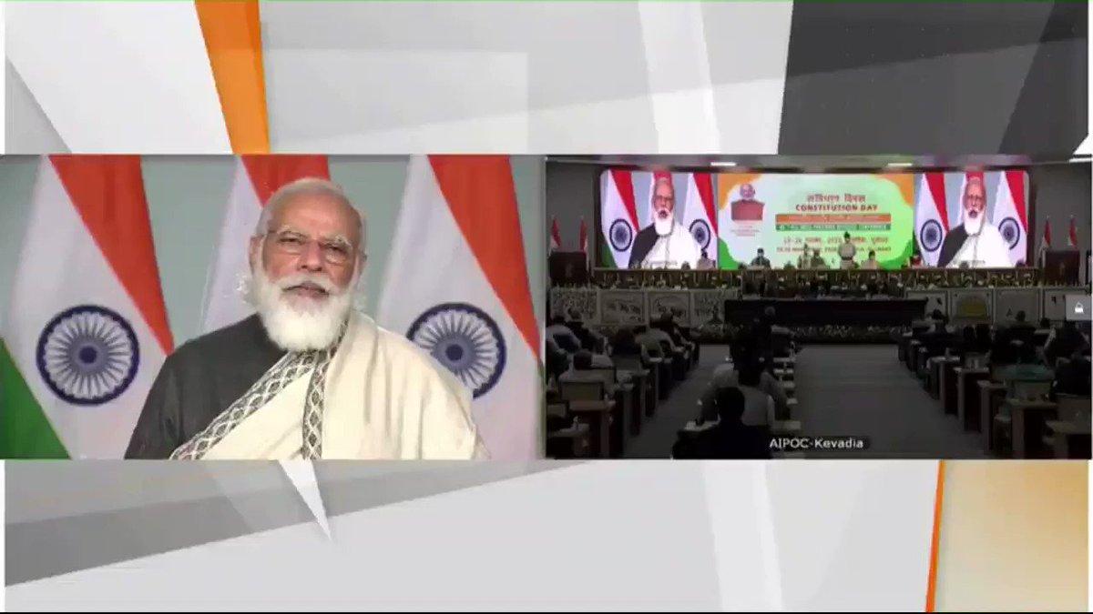 आज उन सभी व्यक्तित्वों को नमन करने का दिन है, जिनके अथक प्रयासों से हमें संविधान मिला।   आज की तारीख देश पर सबसे बड़े आतंकी हमले से भी जुड़ी है। अब भारत नई नीति, नई रीति के साथ आतंकवाद का मुकाबला कर रहा है।   भारत की रक्षा में प्रतिपल जुटे सुरक्षाबलों का मैं वंदन करता हूं।