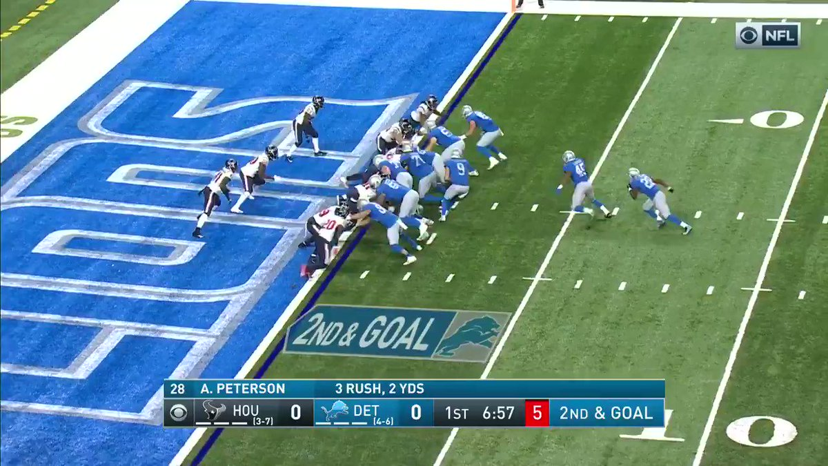 Adrian Peterson finds the end zone for the first TD of U.S. Thanksgiving.  @Lions | #OnePride