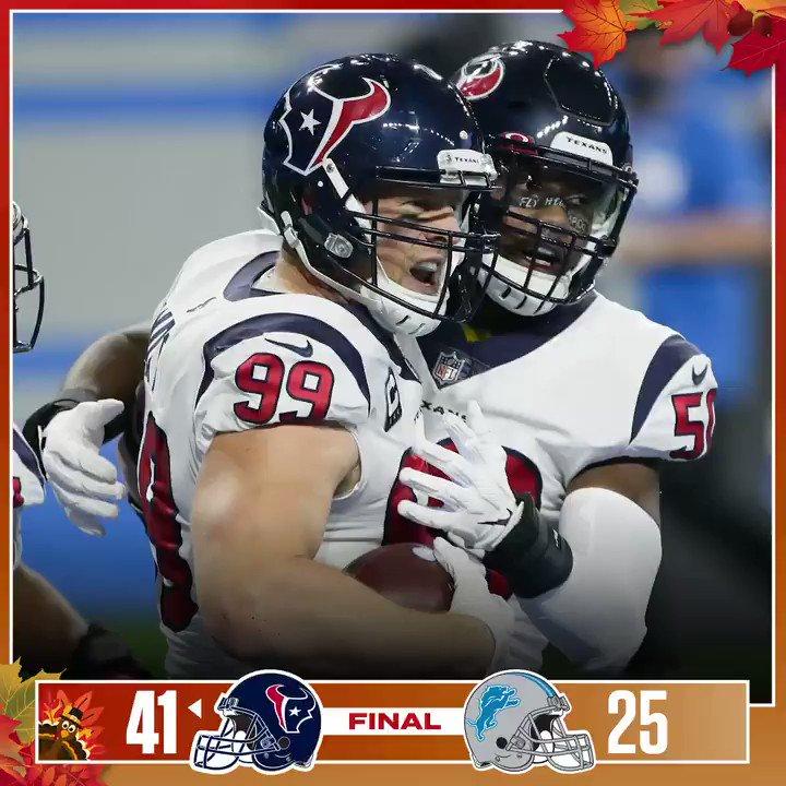 Houston Texans, Detroit Lions'ı deplasmanda 41-25 yenerek taraftarlarına #Thanksgiving hediyesi veriyor. #HOUvsDET