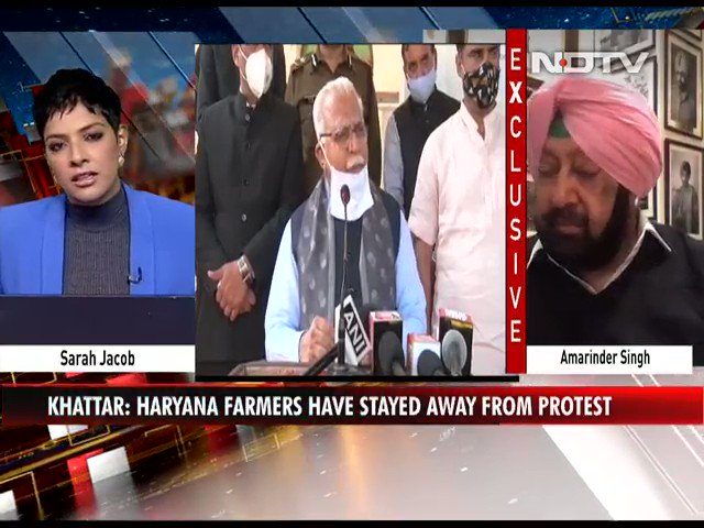 "Watch | ""Won't pick up Haryana Chief Minister's call, don't like dishonest behaviour"": Punjab CM Amarinder Singh to NDTV   #FarmersProtest #NDTVExclusive"