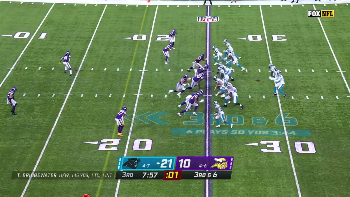 This is why I like @teddyb_h2o — this was graceful af. #KeepPounding #Skol #CARvsMIN #NFL #NFLTwitter @Panthers @Vikings