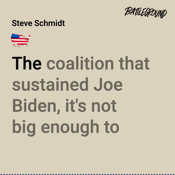 Step one: Understand the Biden coalition that houses myriad identities & ideologies, that's going to have to learn to get along, and that's the last defense against autocracy.  @SteveSchmidtSES and @davidplouffe answer your questions on Battleground: