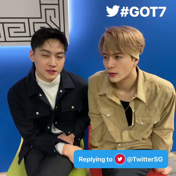 @GOT7Official Q: #AskGOT7 Hi from Singapore 🇸🇬 Have you seen memes of yourself created by fans? How do you like it? - @TwitterSG  A: