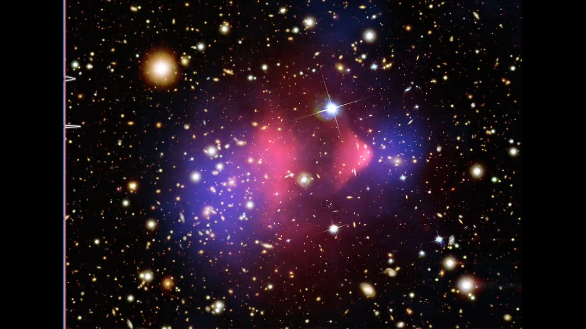 🎶 A new way to experience @ChandraXray data on cosmic objects: sonification!  Data sonification is the process of translating information collected by telescopes into sounds. Here, X-rays are assigned to higher frequencies & dark matter to lower. Listen: