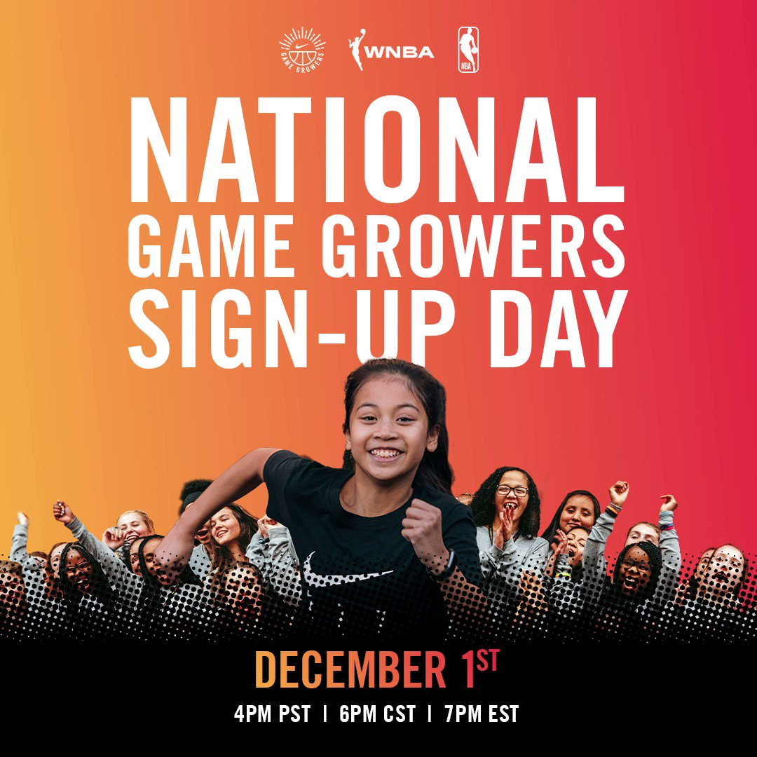 Are you a 7th or 8th-grade girl determined to encourage more girls to play sports?   Join us tomorrow at 4pm for @Nike Game Growers National Sign Up Day!   Sign up here ⬇️  !  Submit your Game Growers applications ⬇️