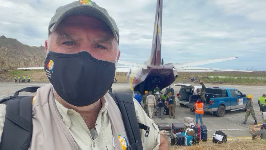 """My friends! Reporting in with @WCKitchen from Providencia Island in Colombia! This is our """"air bridge"""" of food support...for now meals are prepared by local business we support in nearby San Andres island & are flown here. Our team has vehicles at the ready to load up & deliver!"""