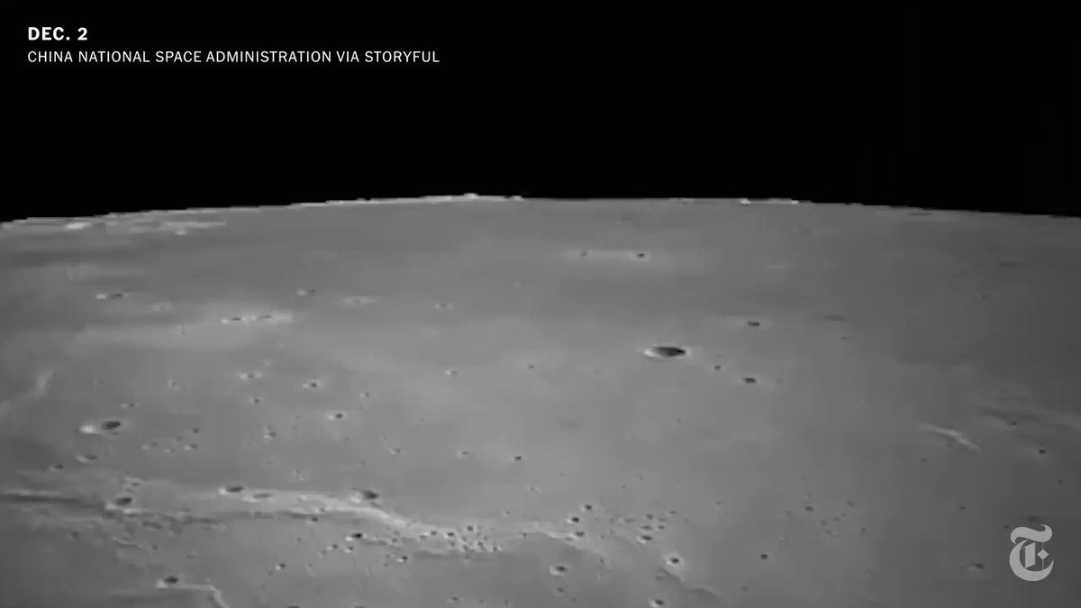 """""""Very precise and exciting landing."""" Watch video that China released of its Chang'e-5 robotic spacecraft landing on the moon's surface on Tuesday. https://t.co/0XAyE1HLr8 https://t.co/9Ujizfwd8O"""