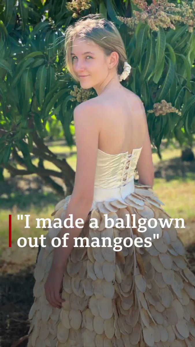 """""""Mango seeds and material was just everywhere"""" 🥭🥭🥭  Meet the girl who made a dress out of 1,400 unwanted mangoes to highlight food waste"""