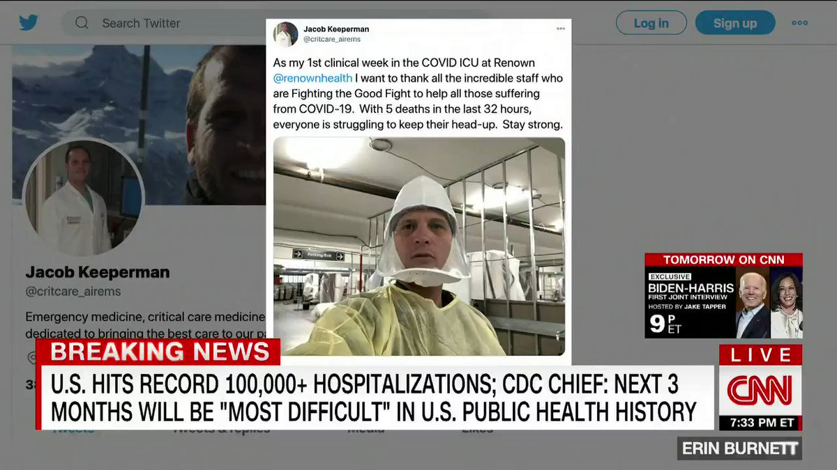 """I was sad. ... It's about time that all of our elected officials view Covid as a humanitarian crisis."" After Dr. Larry Keeperman tweeted out a photo of the Covid-19 unit he works in out of a parking garage in Nevada, Trump falsely claimed it was ""fake."""