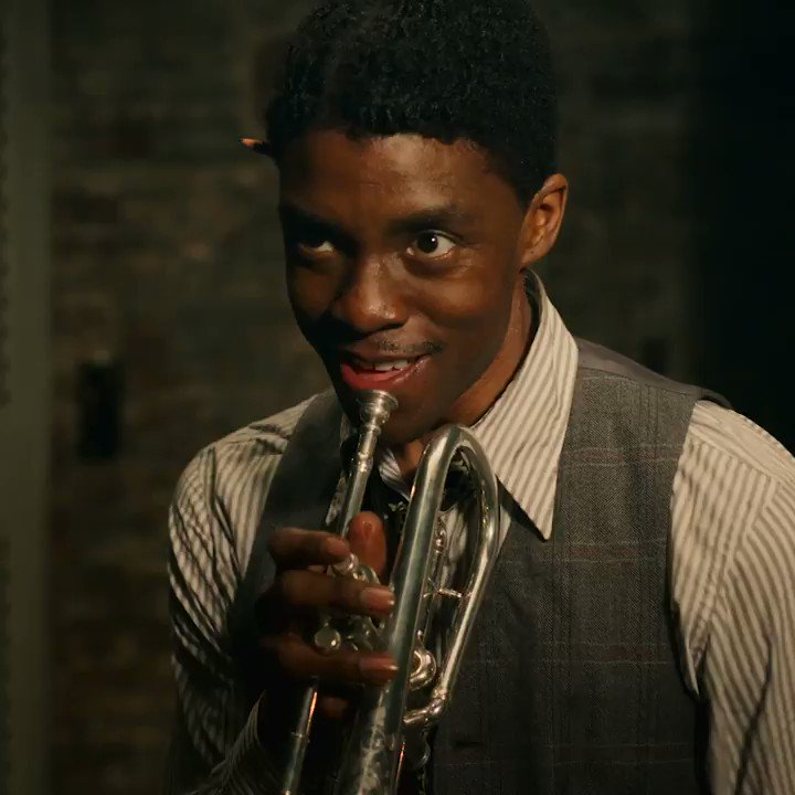 """EXCLUSIVE FIRST LOOK: Chadwick Boseman as Levee in Ma Rainey's Black Bottom. """"I got talent, I got style, everybody can't play like I do.""""   Ma Rainey's Black Bottom will premiere December 18 globally on Netflix"""