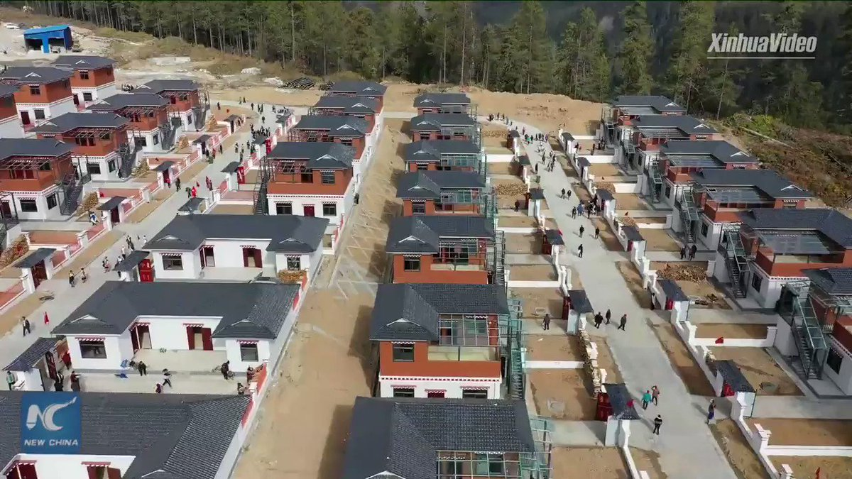 Impoverished villagers in Tibet recently started their new lives in a resettlement project, enjoying bigger homes and more convenient transportation links. #ZeroPoverty2020