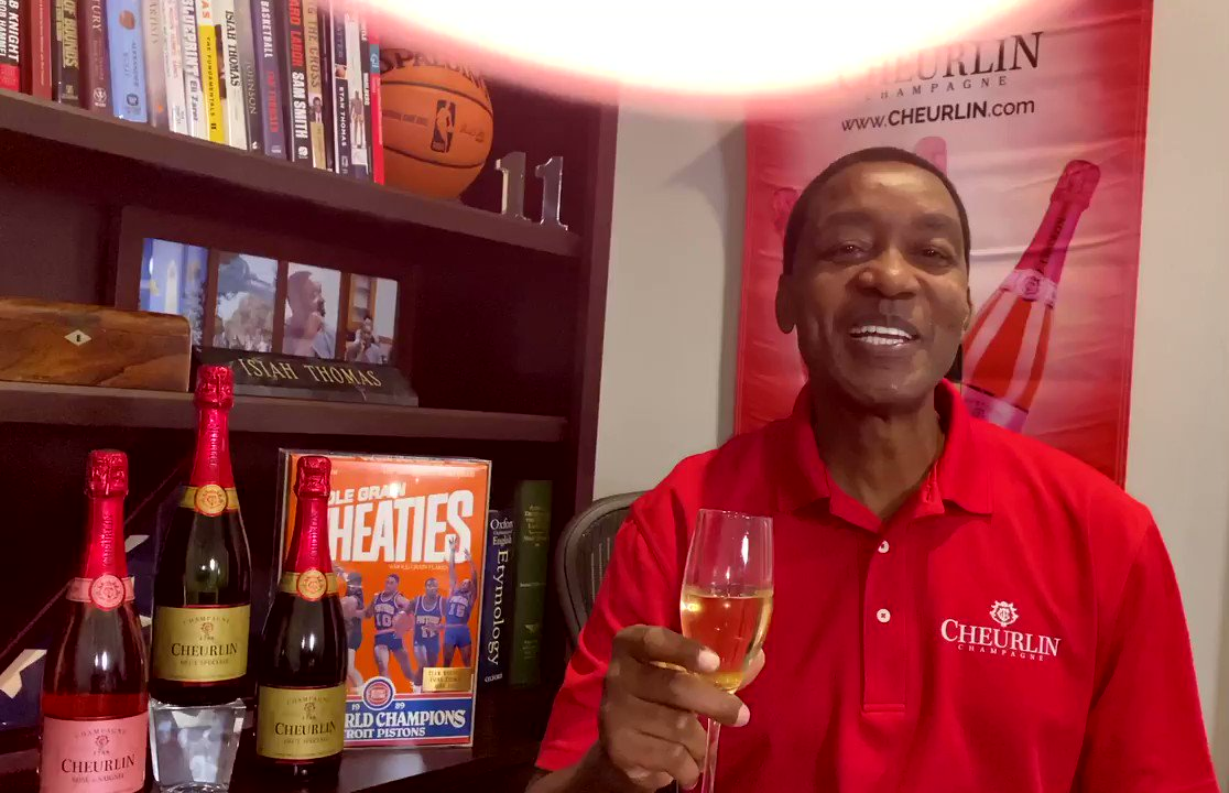 From our #Pistons family to yours, happy New Year! A toast from @IsiahThomas and @Cheurlin1788 for a prosperous 2021. 🥂  #NationalChampagneDay