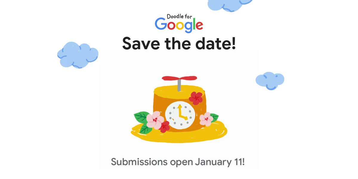 Calling all K-12 US based artists: The time to doodle is approaching!   #DoodleForGoogle is back for its 13th year on January 11th, when we'll announce this year's theme. Until then, save the date! →