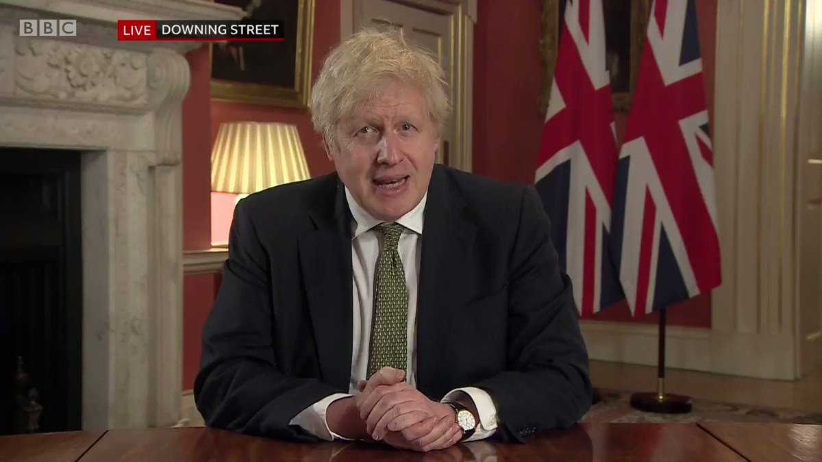 """""""The government is once again instructing you to stay at home""""  UK Prime Minister Boris Johnson, in a ministerial address to the nation, tells people in England that they """"may only leave home for limited reasons permitted in law"""""""