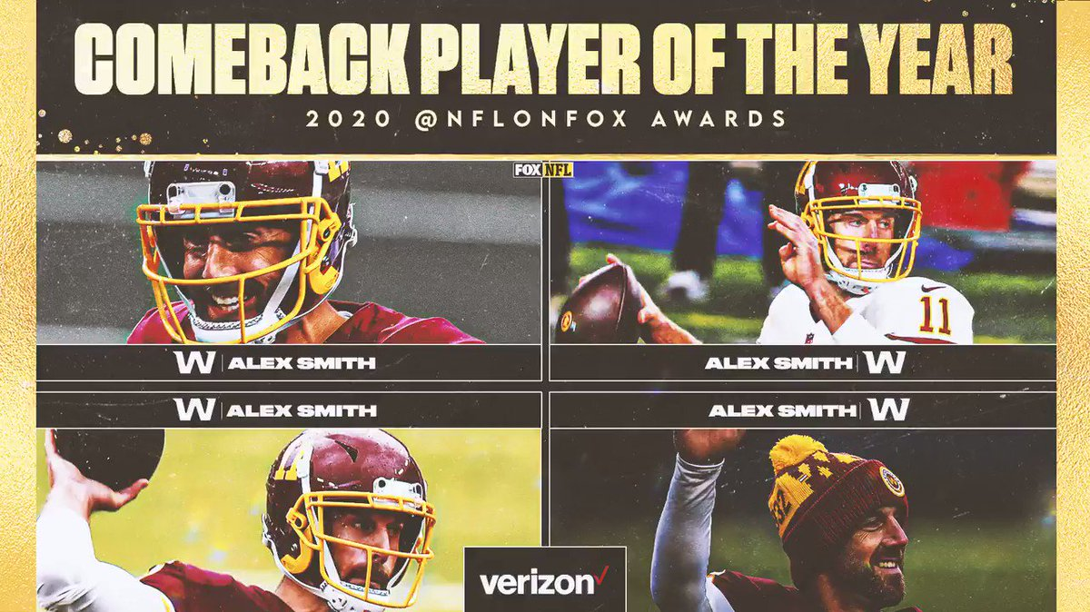 Who has your vote for 2020 Comeback Player of the Year?? 😅 - @WashingtonNFL QB Alex Smith - Washington QB Alex Smith - Washington QB Alex Smith - Washington QB Alex Smith  (Sponsored by @Verizon