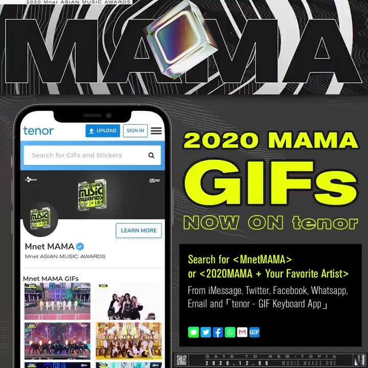 [#2020MAMA] Tenor GIFs are now available!🎉  Search for <MnetMAMA> or <2020MAMA + Your Favorite Artist> on Tenor extension from iMessage, Twitter, Facebook, Whatsapp and 「tenor-GIF Keyboard App」 👉   Express yourselves differently using 2020 MAMA GIFs!🥰