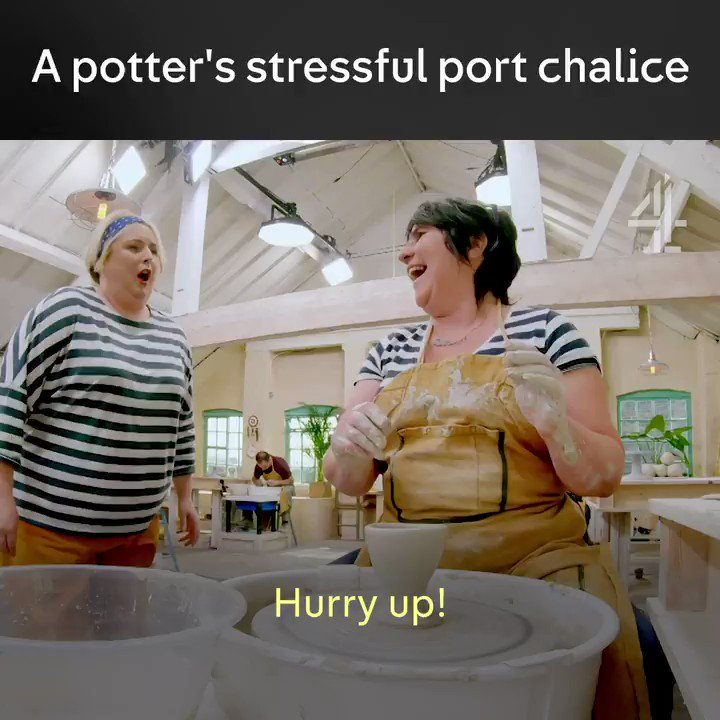 Mess, mess and stress. The Great Pottery Throw Down, Sunday 7:45pm.