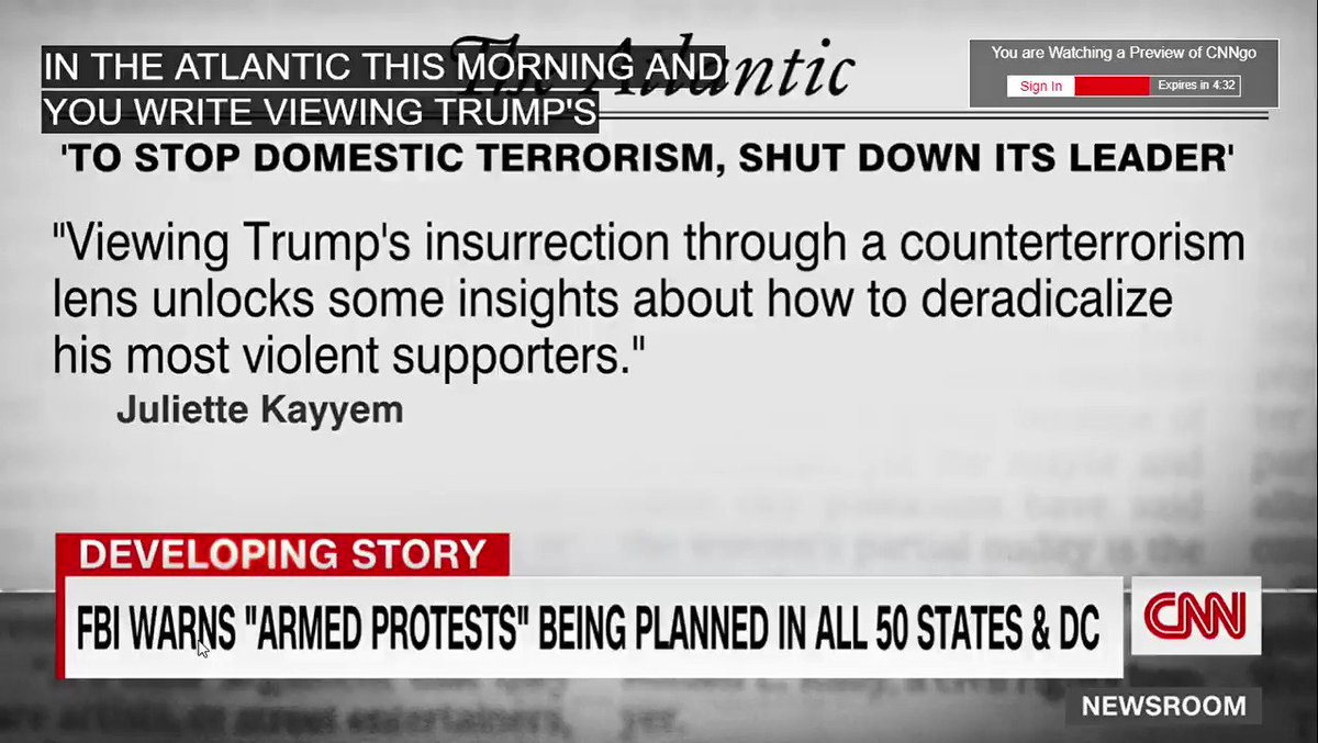 """""""Trump is the spiritual leader for domestic terrorists and he is their operational leader. He tells them what to do. Now, total isolation. 25th A. Yes. Impeachment. Yes. Deplatforming. Yes. We are still in the tactical phase of a counterterrorism effort. Enough with unity."""" @cnn"""