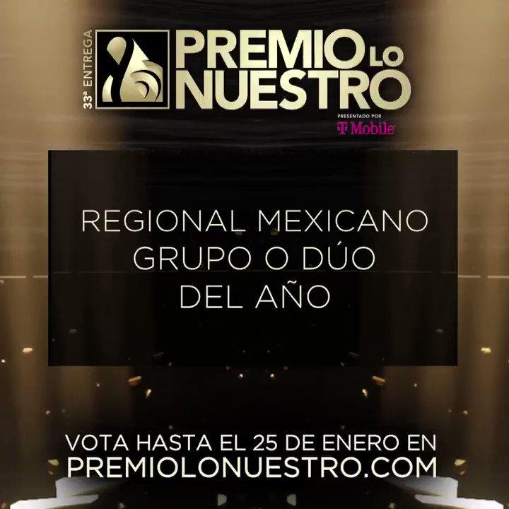 .@AnaPatriciaTV presenta los nominados a #PremioLoNuestro 'Grupo o Dúo Del Año – Regional Mexicano' ✨ @BANDA_MS ✨ @Calibre50 ✨ @edwinlunat y #LaTrakalosaDeMonterrey ✨ @GrupoFirme ✨ @angelesazulesmx ¡Vota hasta el 25 de enero! #NominacionesPLN