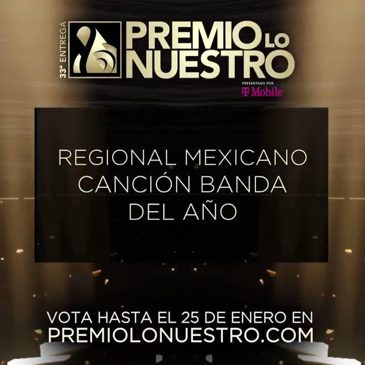 .@quiqueusales presenta los nominados a #PremioLoNuestro 'Canción Banda Del Año- Regional Mexicano' 🎵 Dormida 🎵 En Eso No Quedamos 🎵 Escondidos 🎵 Esta Vez Soy Yo 🎵 Yo Ya No Vuelvo Contigo (En Vivo) ¡Vota hasta el 25 de enero! #NominacionesPLN