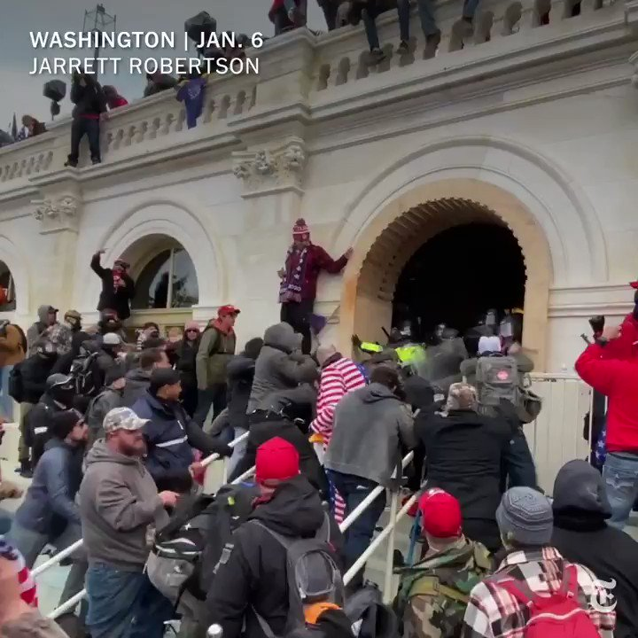 Videos show pro-Trump rioters pulling three officers down a set of stairs during a violent attempt to breach the U.S. Capitol last Wednesday. Our Visual Investigations team looks at how the assault happened.