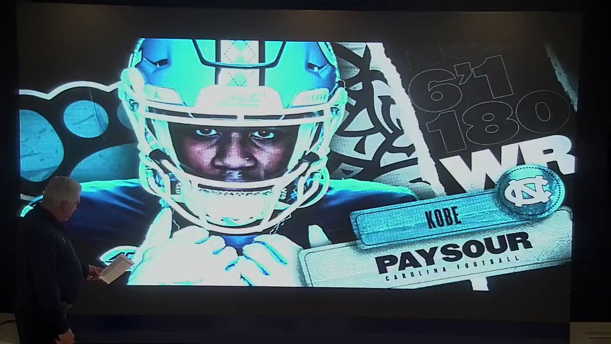 He tallied almost 4,000 receiving yards and over 50 TDs as a prep player.  Let's hear what @CoachMackBrown has to say about @KobePaysour11.  #CarolinaFootball 🏈 #BeTheOne