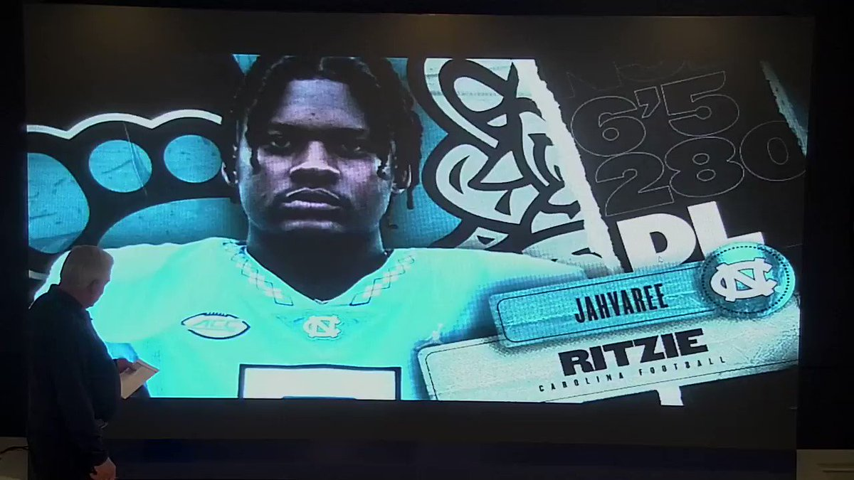 A disruptive, pass-rushing defensive lineman, who was also a two-time MVP for the track and field team.  Let's hear what @CoachMackBrown has to say about @jahvaree.  #CarolinaFootball 🏈 #BeTheOne