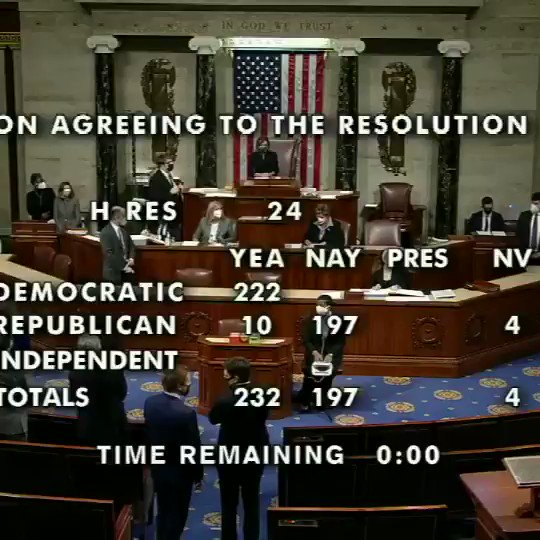 """""""The resolution is adopted.""""  House Speaker Nancy Pelosi announces H.R. 24 passes with a 232-197 vote to impeach Pres. Trump for a historic second time."""