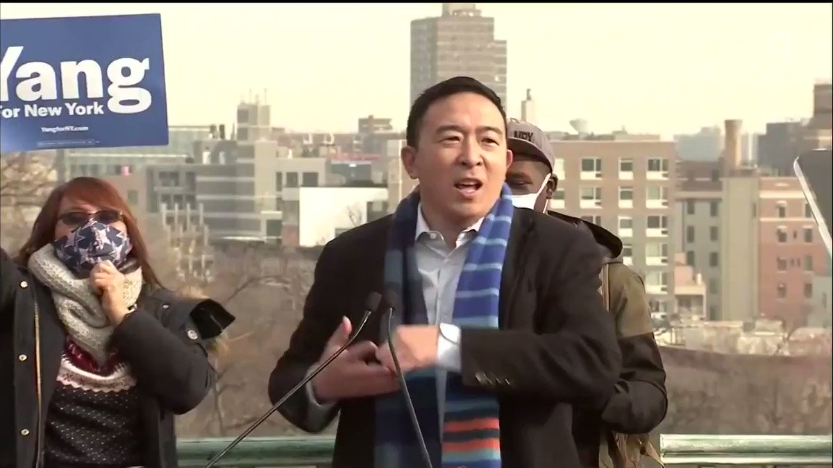 """""""I am so thrilled to announce to you all that I am running for mayor of New York City.""""  Tech entrepreneur Andrew Yang's agenda includes a guaranteed minimum income, starting a """"people's bank"""" and reopening the city """"intelligently"""" from the pandemic"""