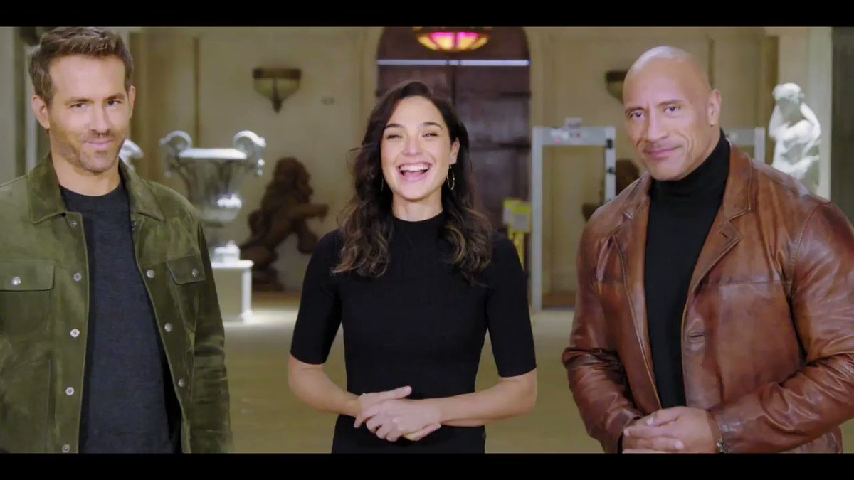 """File this under """"good things to come in 2021."""" @TheRock, @VancityReynolds and @GalGadot lead @NetflixFilm's #RedNotice later this year.   #Coming2021"""