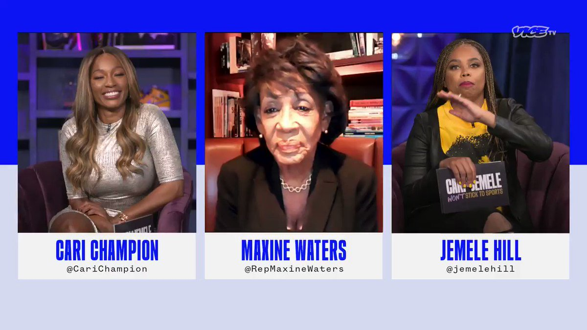 Replying to @VICETV: How safe is Congress feeling right now? @RepMaxineWaters  #WontStickToSports