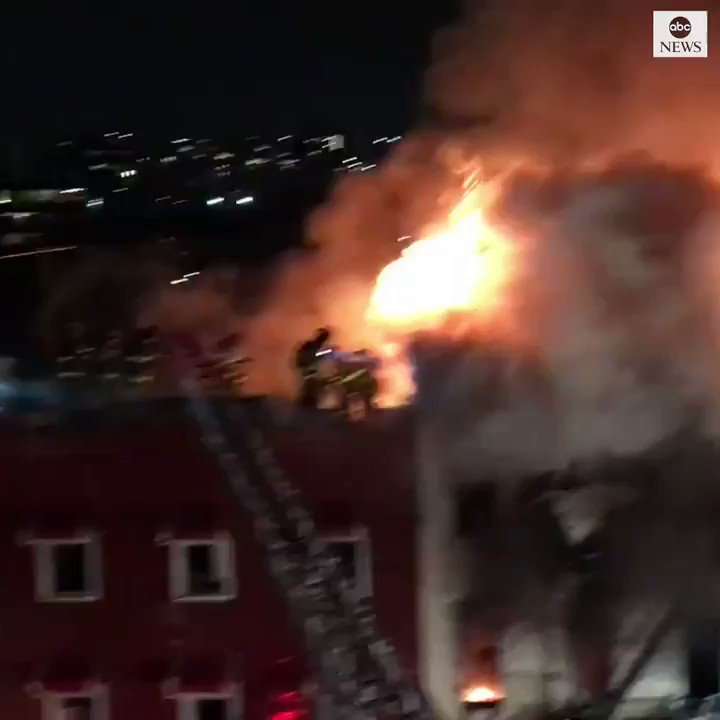 New York City firefighters battle a five-alarm blaze in the Williamsburg district of Brooklyn. No injuries were reported from the fire.