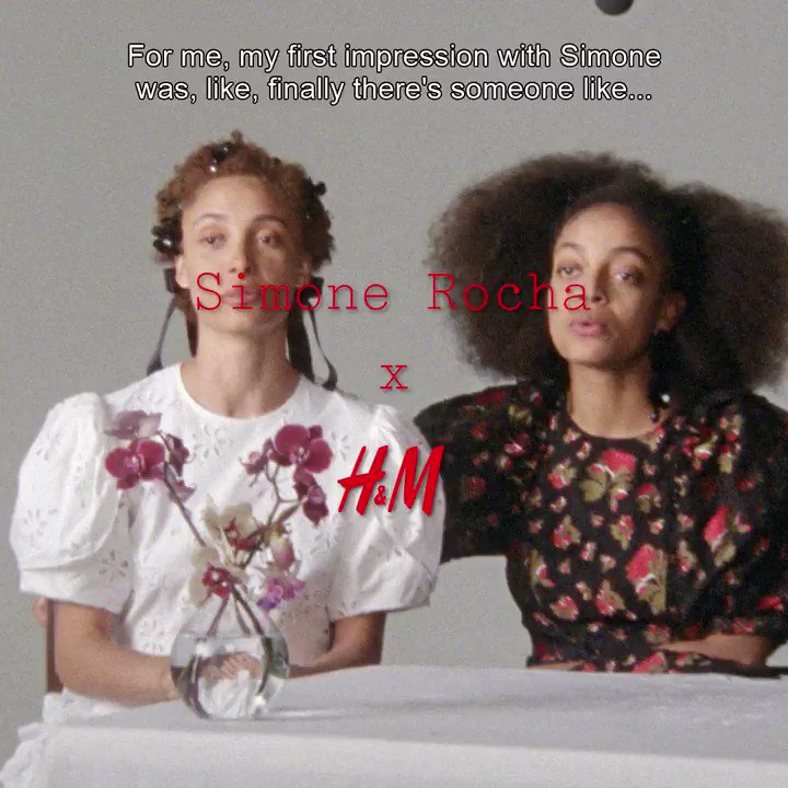 """How do sisters @adwoaaboah_ and #kesewaaboah feel like when wearing @simone_rocha_? """"You're the belle of the ball.""""  The collection launches 11 March. #SimoneRochaxHM #HM"""