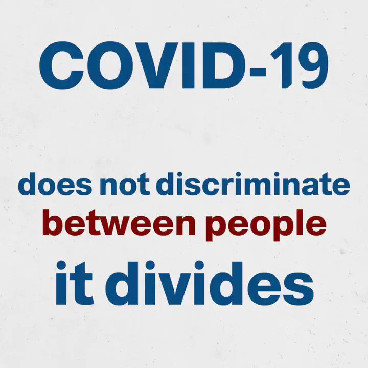 COVID-19 does not discriminate between people, it divides.  Age does not contribute to #COVID19 susceptibility! We are all vulnerable to this virus.  It is #TimeToAbide to safety measures by keeping distance, wearing a mask and regularly washing our hands with soap.#StopCOVIDNow