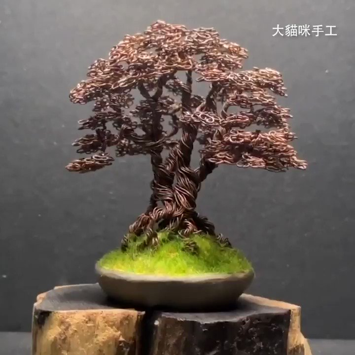 Making mini bonsai with copper wire from old cables