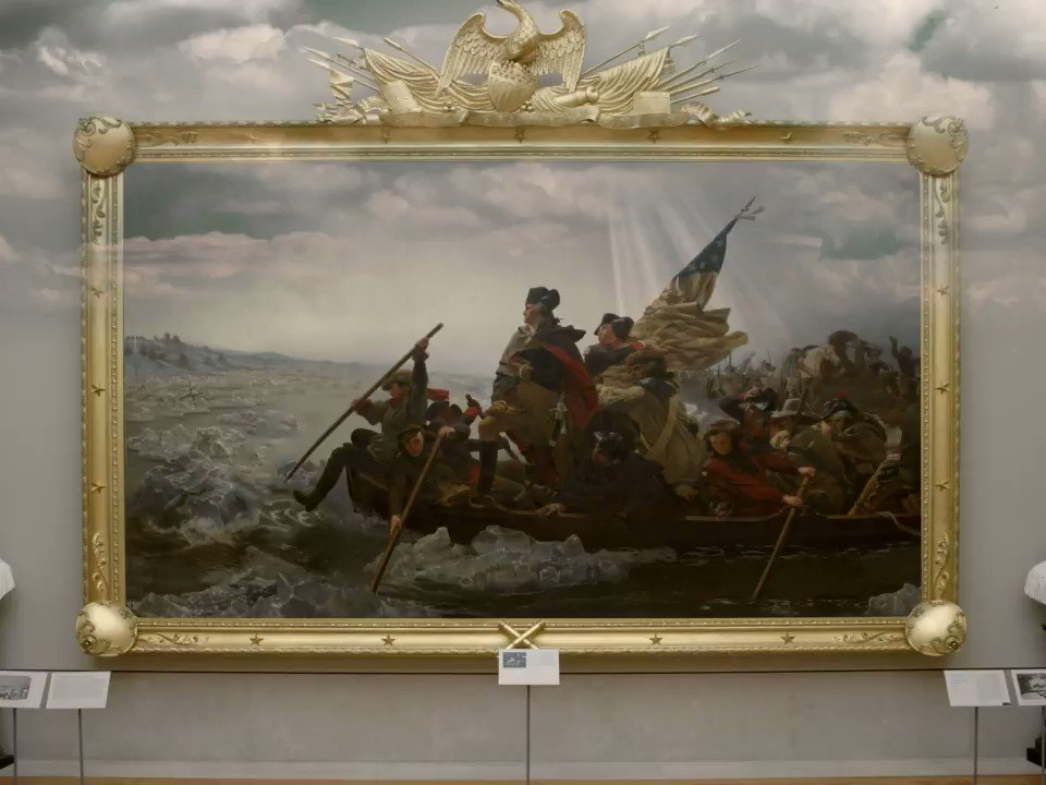 "Take the @metmuseum's ""Washington Crossing the Delaware"" home on loan in AR and share the virtual masterpiece on social using #TheMetUnframed. With Verizon 5G UWB, the dramatic scene will even come to life.  #PowerGalleries"