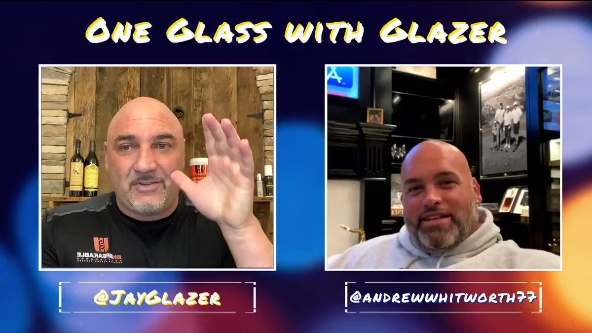 Andrew Whitworth talked about how it felt to tear his MCL and PCL on #OneGlassWithGlazer. Big Whit face timed me from the ambulance to the hospital as he was already making plans for his rehab to get back on the field as soon as possible.