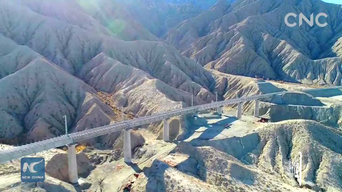 This is a major railway line linking northwest China's Xinjiang and Qinghai. It is the third railway facilitating exchanges between Xinjiang and other regions. #ChinaFromAbove
