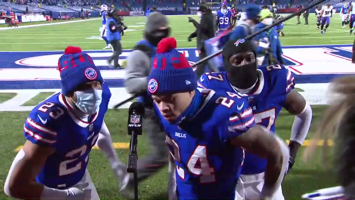 Following @BuffaloBills 17, @Ravens 3, we asked to speak with @Taronj11 & @TakeAwayTre_. They were great. Loved that some of their teammates joined. And it's so cool that the players understand what all of this means to Buffalo. Onto the AFC Championship Game. #BALvsBUF