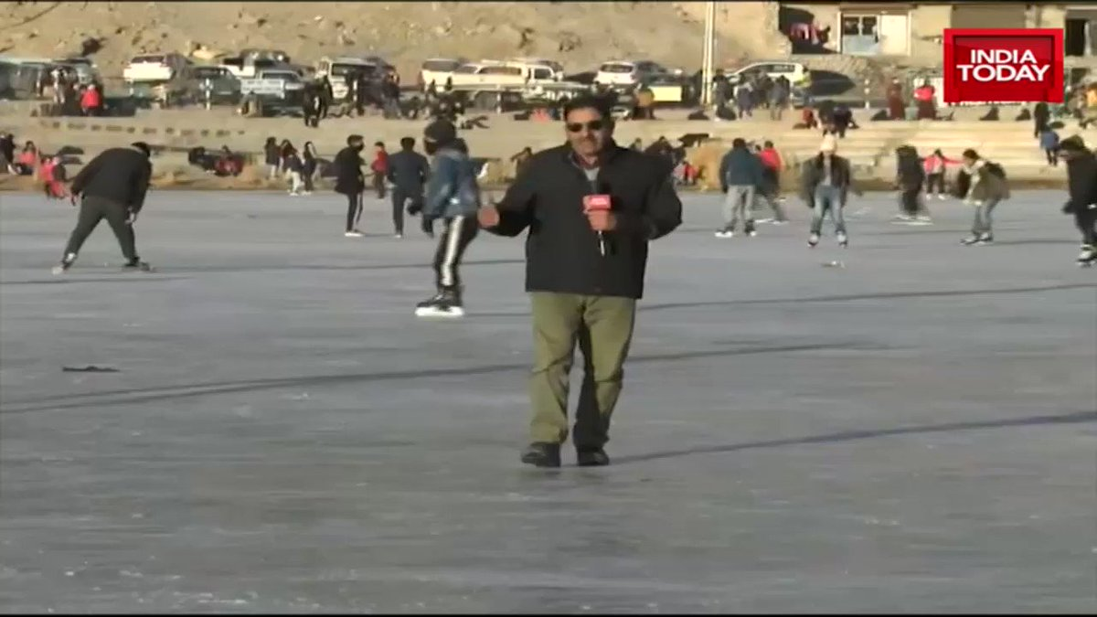 Youth in #Ladakh enjoy ice-skating at naturally formed ice-rink. @ashraf_wani #winter #weather #ITVideo