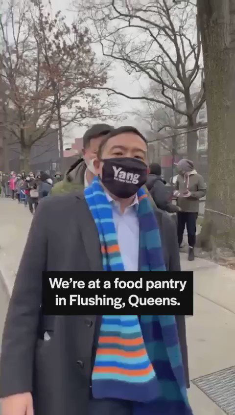 Mayoral candidate Andrew Yang visits food bank lines in New York City.