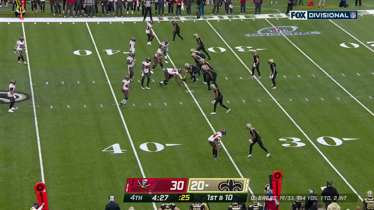 The last pass of Drew Brees' career: