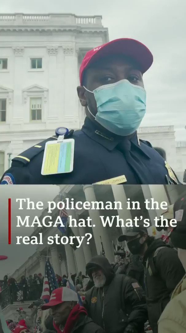 During the riots at the US Capitol, a black police officer put on a MAGA hat  What's the real story?