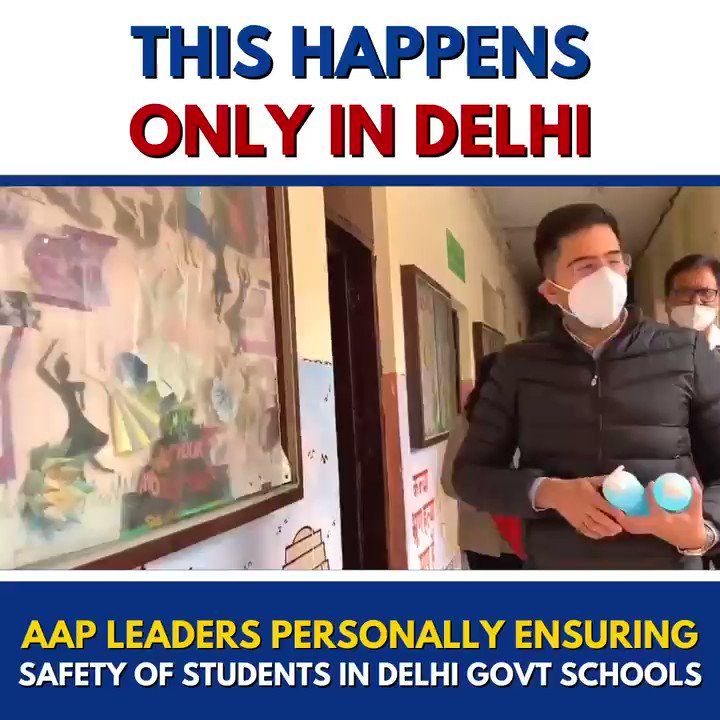 As schools reopen for classes 10 and 12, AAP leaders visit Delhi Govt schools to personally ensure the safety of students.