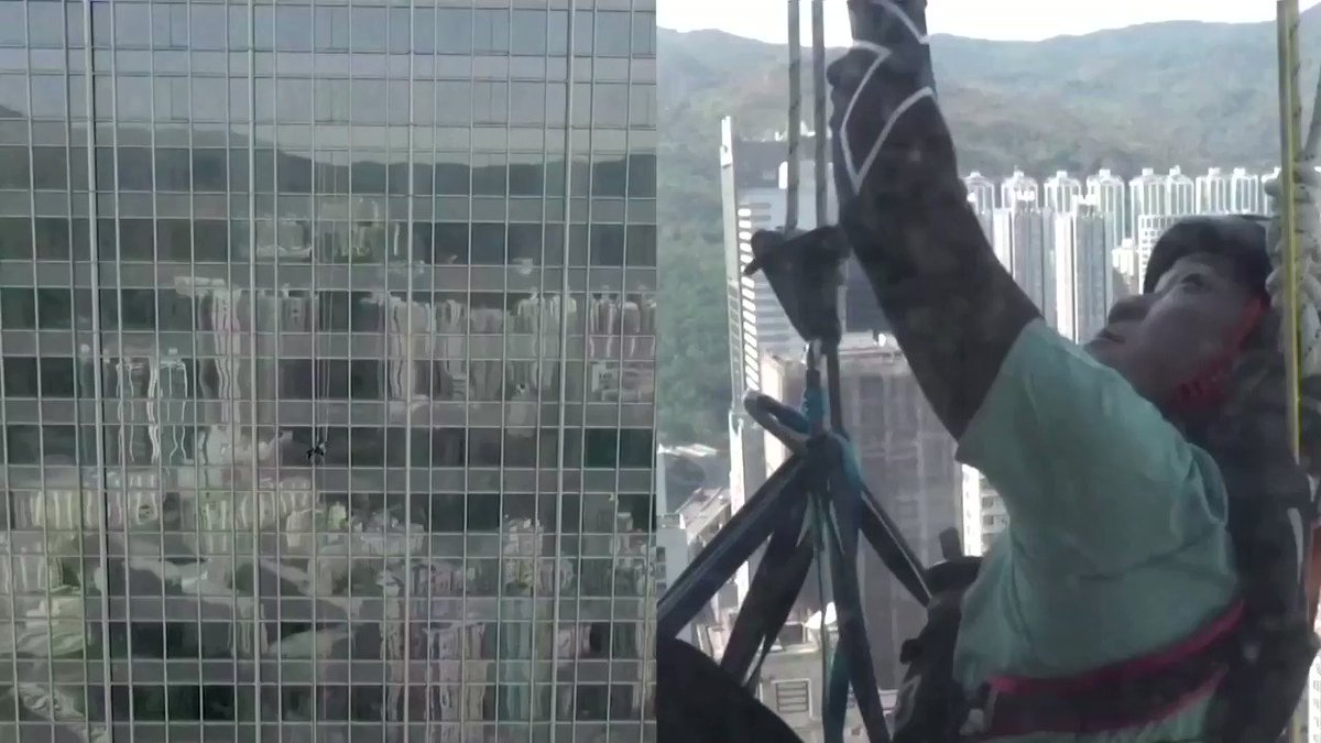 Lai Chi-wai became the first man in Hong Kong to climb more than 250 meters of a skyscraper while strapped into a wheelchair and raised more than $670,000 for spinal cord patients https://t.co/yE2q4XPjP7 https://t.co/zzXIsO9dhS