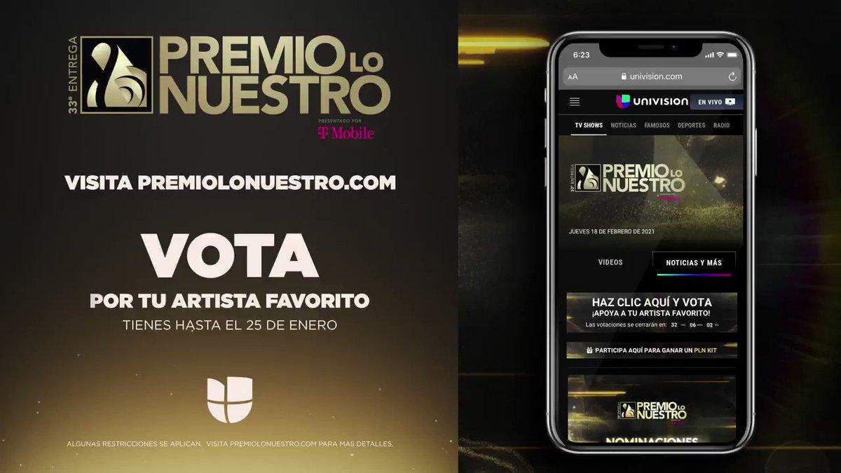 ¡No dejes de apoyar a tus artistas favoritos! VOTA YA en . 🔝  Recuerda que tienes hasta el 25 de enero. #PremioLoNuestro