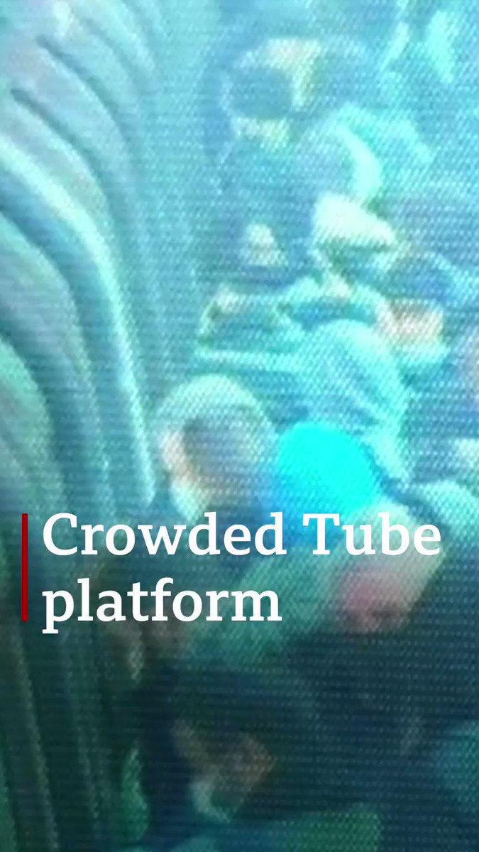 CCTV shows crowded platform at London tube station Trade unions are calling on key workers to travel at quieter times